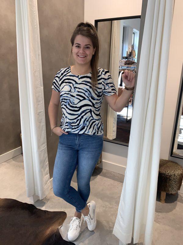 Sasha top - tijger blauw