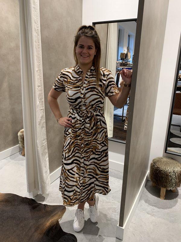 Zebra print jurk bruin