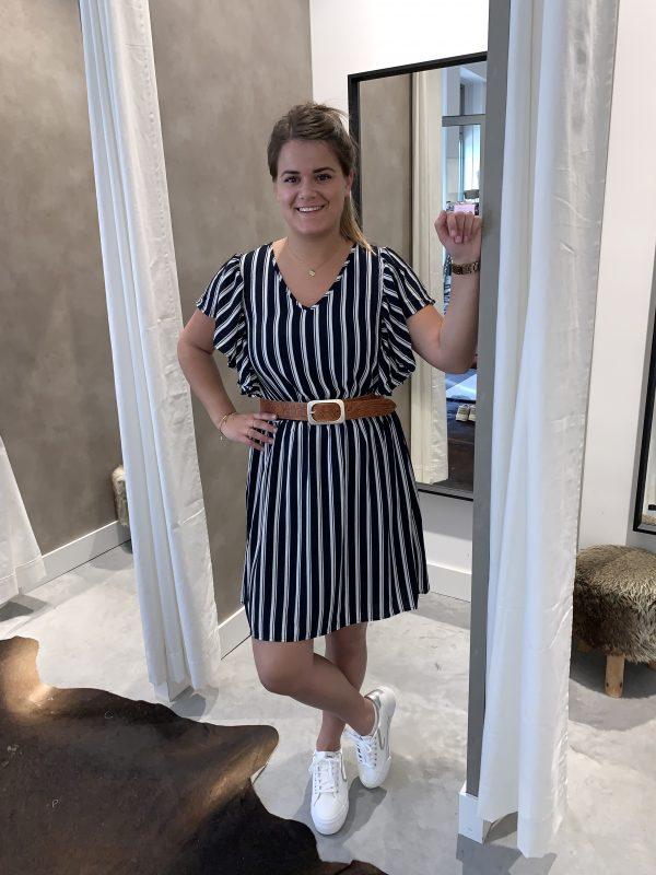 Sasha frill dress - Blauw/Wit gestreept