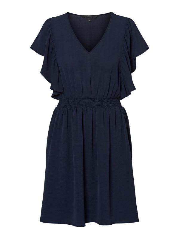 Sasha frill dress - Donkerblauw