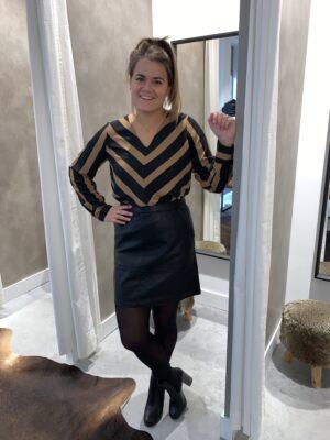 Gestreepte blouse - Bruin/Zwart