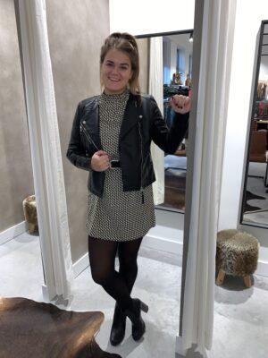 Highneck dress - Zwart/Wit