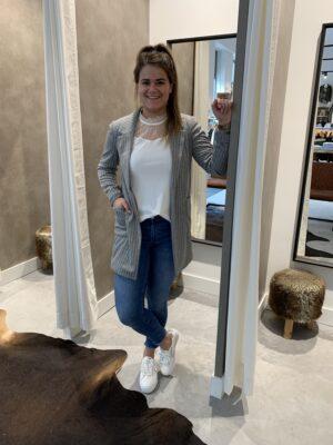 Lange blazer grijs gestreept