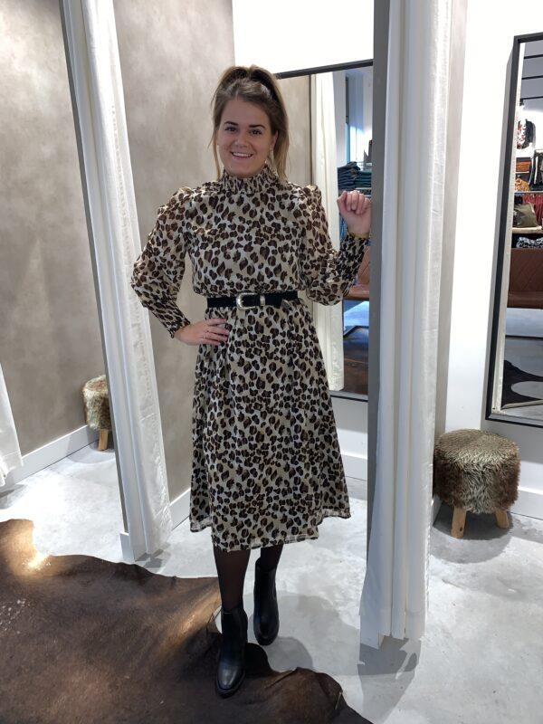 Leopard mididress - Beige