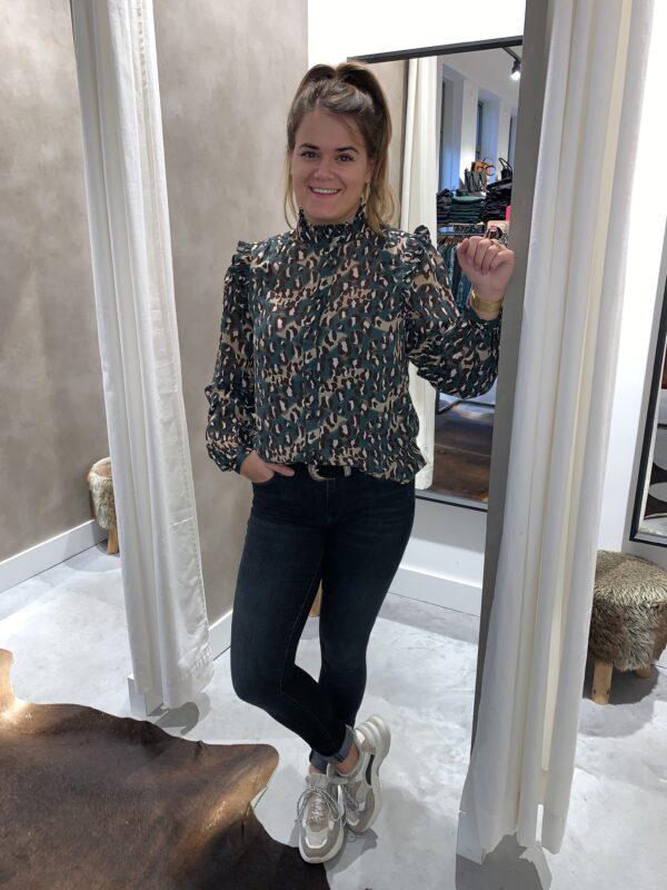 Panterprint blouse - Groen