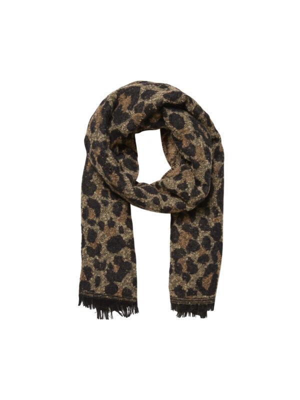 Sjaal leoprint bruin/geel