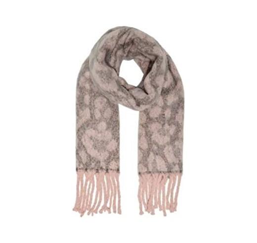 Sjaal leoprint roze/grijs