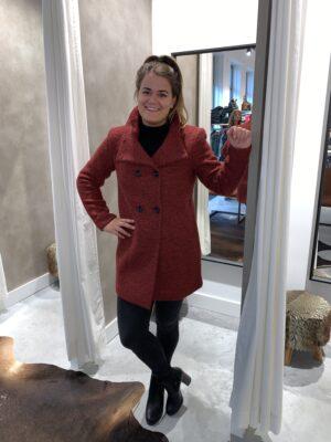 Wollen jas - Bordeaux rood